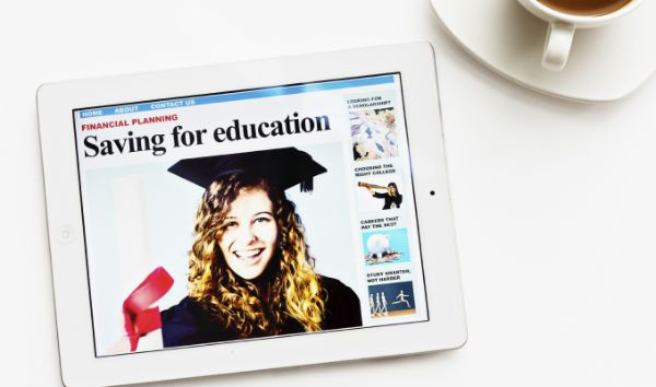 tablet image of student focused on saving money to graduate