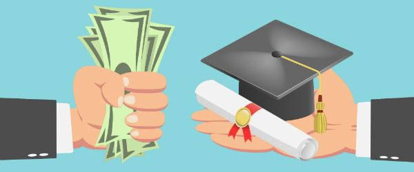a hand handing another hand cash for a degree